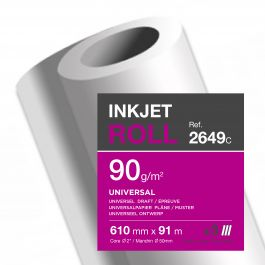 Clairefontaine inkjet rollen wit 90 g/m² 610 mm x 91 M 50 mm