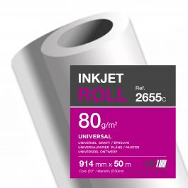 Clairefontaine inkjet rollen wit 80 g/m² 914 mm x 50 M 50 mm