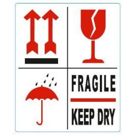 Waarschuwingsetiketten 97 x 79 mm 4 symbolen pijlen, glas, paraplu, fragile