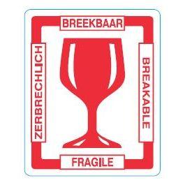 Waarschuwingsetiketten 97 x 79 mm Glas - Breekbaar 4 talen