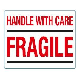 Waarschuwingsetiketten 97 x 79 mm Handle with care fragile